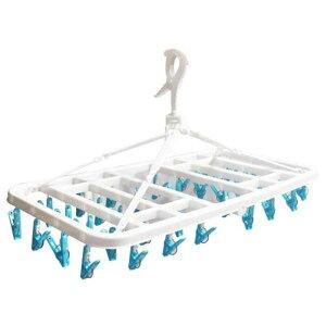 (まとめ) 大容量 洗濯ハンガー/ピンチハンガー 【36ピンチ ブルー】 伸縮ベルト付 ピンチからまん 【×15個セット】