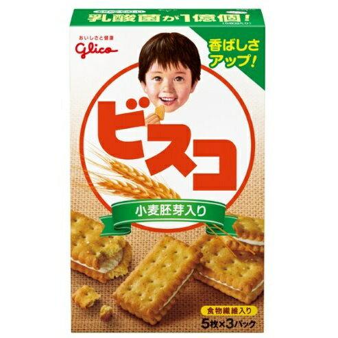 [グリコ]ビスコ 小麦胚芽入り 15枚(5枚×3パック)/クラッカー/ビスケット/クッキー/お菓子
