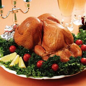 【ポイント3倍】クリスマス ギフト 財宝 スモークターキー 一羽 丸ごと 約 2kg 4人前 〜 5人前 送料無料 冷蔵 / 七面鳥 /  パーティー  お歳暮 / 桜 チップ 燻製