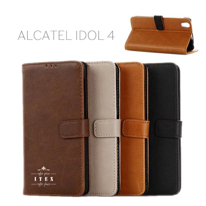 ALCATEL IDOL 4 カバー ケース 手帳型ALCATEL IDOL 4 ケース 手帳型 alcatelidol 手帳型ケース シンプル ALCATEL カバー IDOL カバー 4 黒 ベーシック おしゃれ idol 4 手帳型レザーケース ベタ シンプル 人気 色