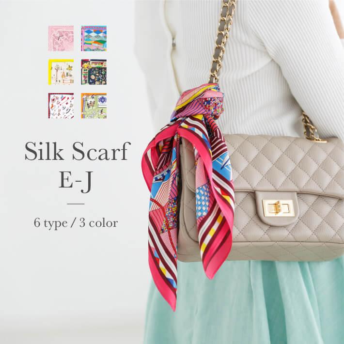 シルクスカーフ type.E〜J【リボン スカーフ バンダナ カラフル バッグチャーム 母の日 mario 】