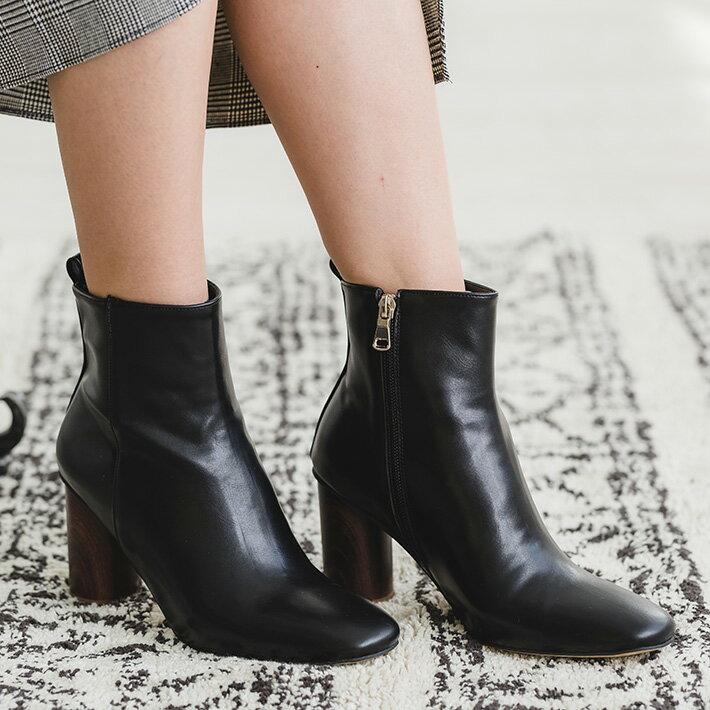 ウッドヒールショートブーツ【レディース ブーツ ヒールブーツ ショートブーツ ウッドヒール 靴 ウッド シューズ ブラック】