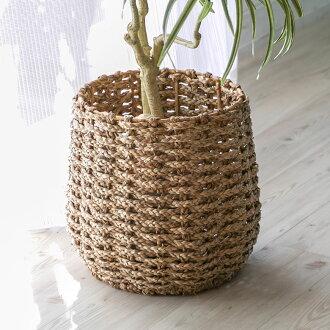 被用海玻璃杯編織的種植者覆蓋物(L尺寸)(vn51010)