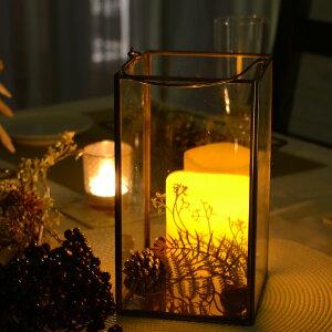 ガラスと真鍮でできた大きなキャンドルランタン(63150)ガラスボックスガラスケースキャンドルランタンディスプレイケース小物入れ