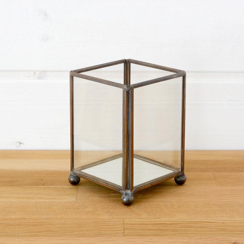 ガラスと真鍮でできた 長方形 の キャンドルホルダー (63180) 【 キャンドルホルダー ガラスボックス ガラスケース オブジェ ディスプレイケース テラリウム 多肉植物 箱庭 寄せ植え 小物入れ 】