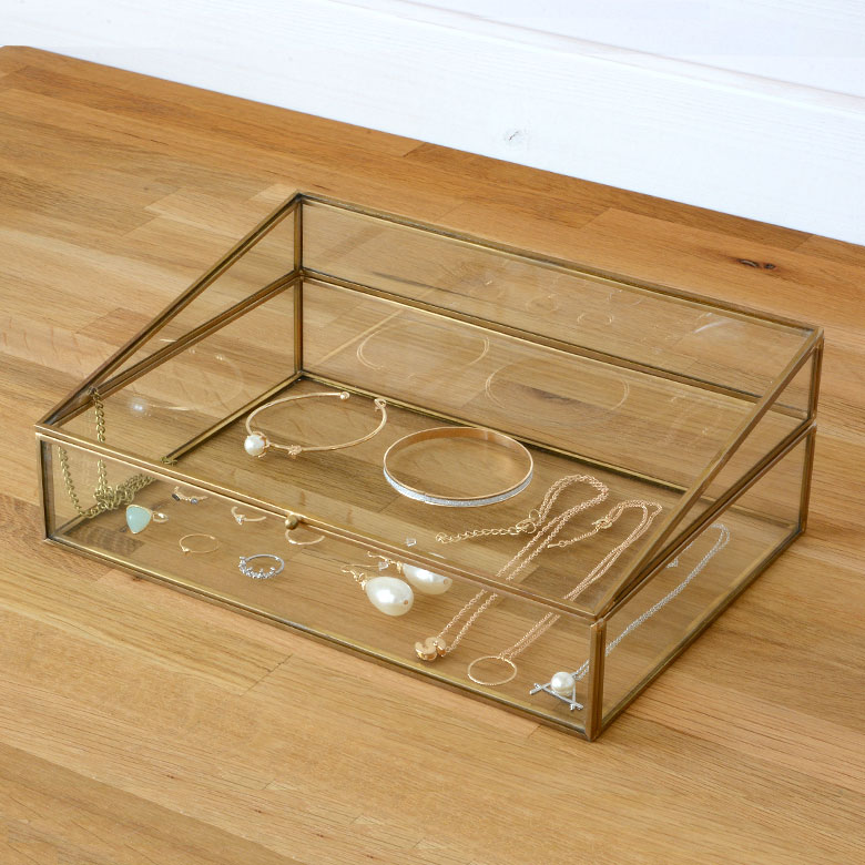 ガラスと真鍮でできたジュエリーボックス(63210) 【 ガラス ジュエリーボックス アクセサリーボックス ディスプレイ 小物入れ 小物収納 塩系 インテリア 男前 西海岸 ELEMENTS エレメンツ 】