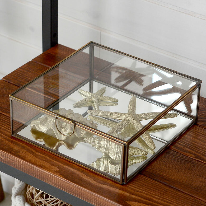 ガラスと真鍮でできた 鏡付き 収納ケース フタ付き (Lサイズ)(63170) 【 ガラスボックス アクセサリー 指輪 イヤリング ネックレス ガラスケース 容器 四角 オブジェ ディスプレイケース 小物入れ 小物収納 】