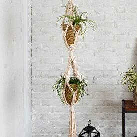コットンロープ製 マクラメハンギング(64730)プランターハンガー 観葉植物 プラントハンガー 鉢 吊るす プラントホルダー 飾る マクラメグリーンハンギング ジュート 鉢カバー 西海岸 インテリア 多肉植物 ディスプレイ 北欧