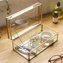 ガラスと真鍮でできた ストッパー付き 収納ケース(63240) ディスプレイケース 小物入れ ガラスボックス おしゃれ ガラ…