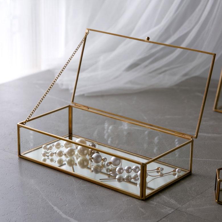 ガラスと真鍮でできた ジュエリーボックス (63280) ガラスボックス おしゃれ ガラスケース アクセサリーケース アクセサリー入れ 四角 ゴールド ディスプレイケース 小物入れ 小物収納 蓋つき 男前 インテリア 西海岸