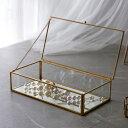 ガラスと真鍮でできた ジュエリーボックス (63280) ガラスボックス おしゃれ ガラスケース アクセサリーケース アクセサリー入れ 四角 ゴールド ディスプ...
