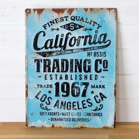 【 California 】ヴィンテージ風 サインボード(65210)サインプレート アンティーク調 ブリキ看板 ヴィンテージ調 デザインボード TINプレート 西海岸 男前 インテリア 雑貨 ブルックリン ビーチ マリン 店舗用 オブジェ 看板