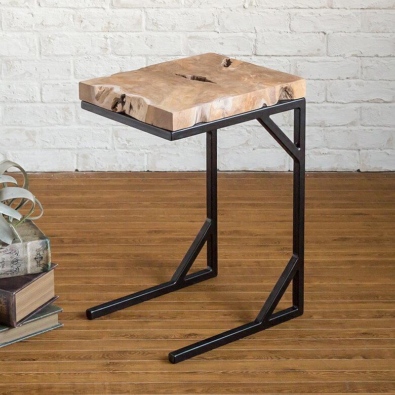 無垢材のチークを使った アイアンフレーム サイドテーブル(91028)【 ベッドサイドテーブル スリム ベッドテーブル 木製 ナイトテーブル おしゃれ テーブル シンプル ソファテーブル 寝室 リビング サブテーブル ソファーサイドテーブル パソコンテーブル 西海岸 男前 人気 】
