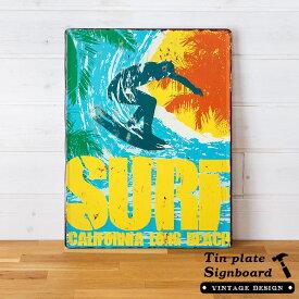 【 SURF 】ヴィンテージ風 サインボード(65267) サインプレート アンティーク調 ブリキ看板 ヴィンテージ調 デザインボード アンティーク風 TINプレート 西海岸 男前 インテリア ブルックリン ビーチ マリン 店舗用 オブジェ 看板