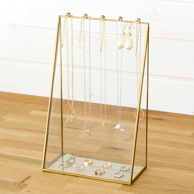 ガラスと真鍮で出来た アクセサリースタンド (63200)【 アクセサリー 収納 ネックレス ピアス 指輪 イヤリング ジュエリースタンド トレイ アンティーク ディスプレイ ショーケース シンプル おしゃれ かわいい ゴールド 】