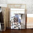 ファイルボックス A4 ワイヤーバスケット ゴールド 深型スリム 幅26cm [66590]【 かご バスケット 収納 マガジンラッ…