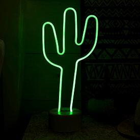 テーブルランプ 電池式 LED ネオン サボテン型 グリーン [66729]【 照明 ネオンランプ インテリアライト ネオン看板 ネオン管 ナイトライト ネオンチューブ おしゃれ カクタス メキシカン 西海岸 アメリカン ヴィンテージ 】