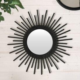 ミラー 鏡 丸型 壁掛け ラタン 直径60cm ミラー部分径23.5cm[13704]【 壁掛けミラー サンミラー 太陽 放射状 ウォールミラー 壁掛け鏡 ラウンドミラー 円形 ウォールデコレーション インテリア シャビーシック 西海岸 リゾート おしゃれ 】