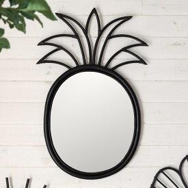 ミラー 鏡 パイナップル 壁掛け ラタン 44×70cm ミラー部分34.5×41cm[13706]【 壁掛けミラー デザインミラー ウォールミラー 壁掛け鏡 ラウンドミラー 円形 ウォールデコレーション インテリア 西海岸 リゾート おしゃれ 】