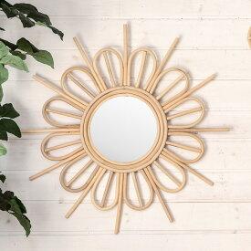 ミラー 鏡 フラワーA 壁掛け ラタン 直径60cm ミラー部分径19cm[13707]【 壁掛けミラー サンミラー 放射状 太陽 花形 ウォールミラー 壁掛け鏡 ラウンドミラー 円形 ウォールデコレーション インテリア 西海岸 リゾート おしゃれ 】