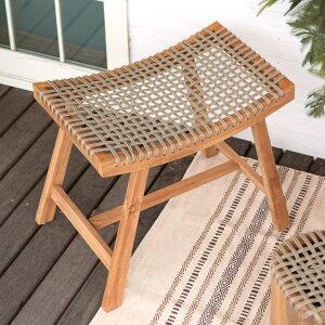 ロープチェア スツール チェア 一人掛け 木製フレーム [13726] 【 椅子 チェア 背もたれ無し ベンチ 1人掛け 1P ロープ座面 チークウッド 天然木 1人用 アウトドア 屋外 リビングチェア 玄関 北