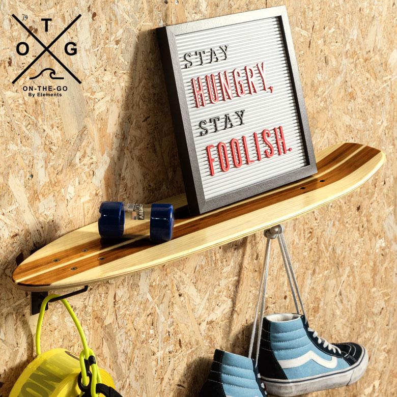 ウォールシェルフ スケートボード カナディアンメープル&バンブー製 幅約82.5cm ナチュラル色 [66892]【 スケートボードラック スケートボードシェルフ ウォールラック ウォールシェルフ 本物 ウッドラック 棚 壁掛け 壁面 壁面収納 西海岸 インダストリアル おしゃれ 】