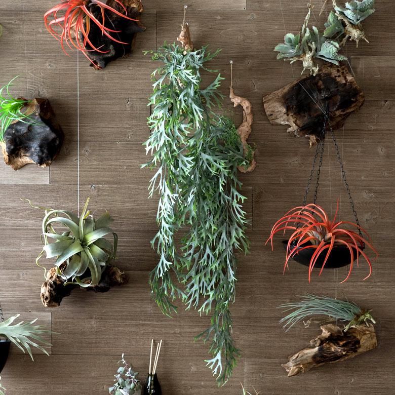 フェイクグリーン 造花 シダ 観葉植物 壁掛け [98900]【 インテリアグリーン ハンギング 枝付き 70cm 垂れ下がり ロングタイプ おしゃれ】
