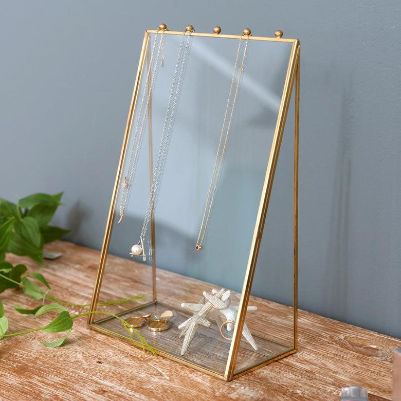 【割引クーポンあり】ガラスと真鍮で出来た アクセサリースタンド (63200)【 アクセサリー 収納 ネックレス ピアス 指輪 イヤリング ジュエリースタンド トレイ アンティーク ディスプレイ ショーケース シンプル おしゃれ かわいい ゴールド 】
