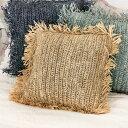 クッションカバー 天然素材 ラフィア フリンジ付き 40cm × 40cm [13879]【 クッション カバー おしゃれ 椰子 素材 麦…
