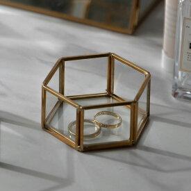 アクセサリーケース ガラスと真鍮 ガラスケース アクセサリー収納 六角形 Sサイズ [67049]【 ガラスケース ディスプレイ ジュエリーボックス ジュエリーケース ヴィンテージ 風 ビンテージ 風 アンティーク 風 おしゃれ 韓国 韓国インテリア 西海岸 】
