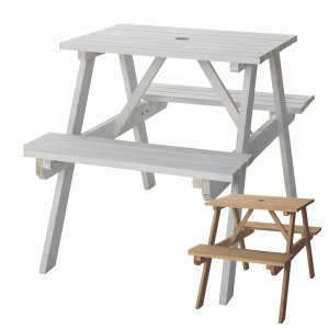 テーブル&ベンチ アウトドア 天然木 白 2人掛け [91233-br 91233-wh]【 ガーデンファニチャー ガーデンテーブル ガーデンセット ガーデンチェア ガーデン家具 屋外 木製 】