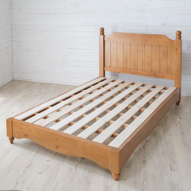 ベッド 木製 シングル ブラウン ヘッドボード付き [91403]【 シングルベッド パイン材 天然木 カントリー ナチュラル 北欧 シンプル 】