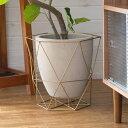 植木鉢 鉢カバー 直径40cm セメント アイアン [98921]【 ポット ガーデン雑貨 インテリア ゴールド グレー 大きめ イ…