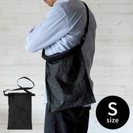 ショルダーバッグ 黒 メンズ レディース Sサイズ [90051]【 タイベック ポケット付き 無地 調節可 日本製 サイドファスナー付き おしゃれ 】