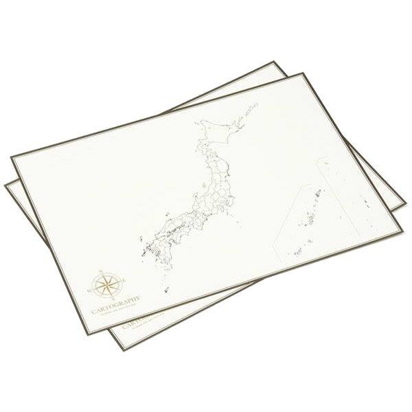 【送料無料】大人の白地図 カルトグラフィー ポスター・A3サイズ 日本 5枚入×3セット CG-A3J