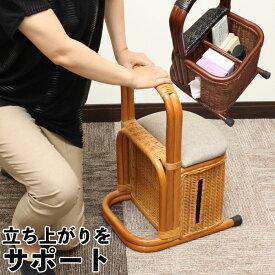 立ち上がり補助器具 つかまり立ちステッキ 収納付き 籐 ラタン 肘置き 立ち上がり 補助 スタンド 軽量 室内 杖