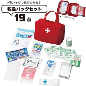 救急バッグ 19点セット 携帯用 応急手当 包帯 ガーゼ かばん けが レッド 家庭用 オフィス 応急処置 薬箱 薬入れ くすり 救急箱