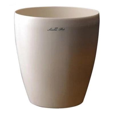 ラスターポット M−155型 ホワイト 154Φx123mm【白色 プラ鉢カバー 高級感 光沢 プラスチック鉢 室内 インテリア アップルウェアー/4905980316768】