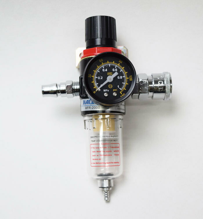 レギュレーター 付 エアー フィルター 圧縮 調節 と 水分 除去 に 1/4 カプラー (オス ・ メス) シール テープ セット 取付 ステー 付属