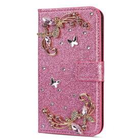 iPhoneX / iPhoneXS 手帳型ケース ビジュー ラメ 蝶々 バタフライ スマホケース マグネット開閉 ICカード収納 スタンド機能 キラキラ ラインストーン デコ かわいい ピンク