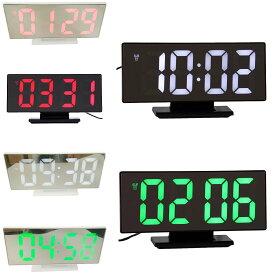 ミラーデジタルLEDアラーム時計 デジタルLED時計 デジタル表示 LED表示 ミラー 目覚まし時計 置き時計 USB給電 USBケーブル付属 時刻・設定記憶用補助電池付属 アラーム機能 日付表示 温度表示