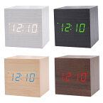 木目調LED時計(小)アラーム機能日付・温度表示省エネモード搭載全4種