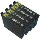 MUG-BK ブラック 4個セット ZAZ 互換 インクカートリッジ MUG-4CL 対応 ICチップ付 マグカップ 互換 MUG インクタンク カートリッジ 1年保証 対応機種 EW-452A / EW-052A / EW452A / EW052A mug-bk-4ko