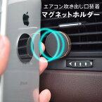 スマホ車載ホルダー強力マグネットタイプエアコン吹き出し口取付用iPhone7iPhone7PlusiPhone6/6siPhone6PlusiPhone5s他androidスマートフォン対応スマホケースなどに付属金具をつけるだけ!