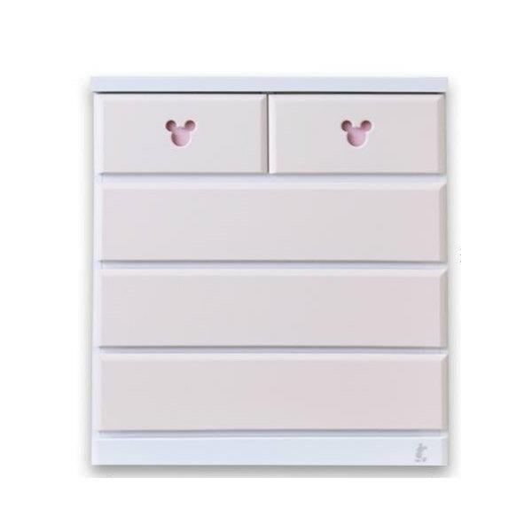 【送料無料】ミッキー タンス 収納家具!ディズニー 収納チェスト エスター 幅80・4段 ピンク