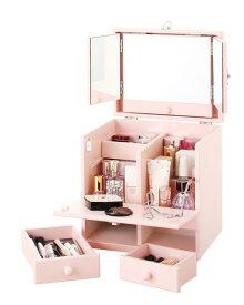 三面鏡 化粧品収納BOX!三面鏡付きメイクボックス ベビーピンク色