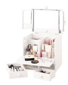 三面鏡 化粧品収納BOX!三面鏡付きメイクボックス ピュアホワイト色
