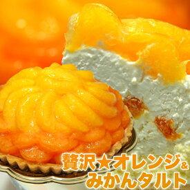 【送料無料】みかんたっぷり オレンジタルトケーキ 直径14cmホールケーキ!オレンジ&みかんタルト