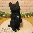 猫 置物 リアル 黒猫 クロネコ くろねこ キャット リアルな猫の置物 お願いキャット4 ブラック 動物オブジェ…