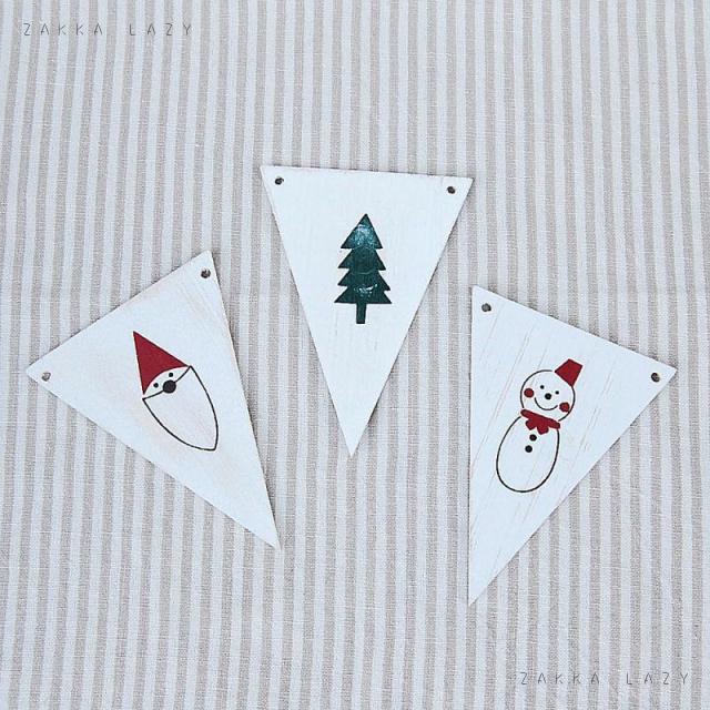 木製 ウッド ガーランド フラッグ インテリア ディスプレイ クリスマス サンタ ツリー スノーマン『コンパクト対応 ウッドフラッグ』【コンパクト対応】